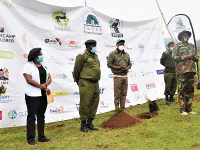 R-L: Anne Kamanu- KENVO Project Officer, Ms. Nancy Ogonje- EAWLS Executive Director, Mr. Paul Karanja- Kiambu Ecosystem Conservator, Hon. Davidi Kuria- Kiambu County CEC Water, Environment, Energy & Natural Resources, Dr. Clement Ng'oriare'ng- Head, Drylands Forestry, and conservator of Forests in Kiambu.